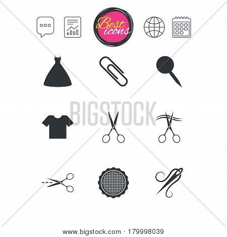 Chat speech bubble, report and calendar signs. Tailor, sewing and embroidery icons. Scissors, safety pin and needle signs. Shirt and dress symbols. Classic simple flat web icons. Vector