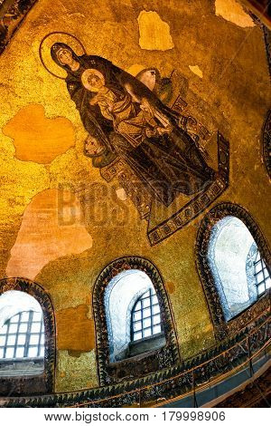 ISTANBUL - MAY 25, 2013: Interior of the Hagia Sophia ancient mosaic. Church of Hagia Sophia is the greatest monument of Byzantine Culture. It was built in the 6th century.