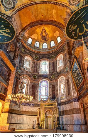ISTANBUL - MAY 25, 2013: Inside the Hagia Sophia in Istanbul, Turkey. The apse with the image of the Virgin at the top. Hagia Sophia is the greatest monument of Byzantine Culture.