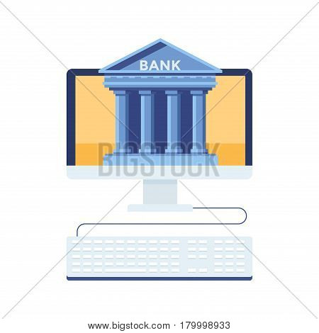 Online bank. Mobile bank technology, computer monitor with bank building. Vector flat illustration. Modern flat design concept for web banners, web sites, printed materials, infographics.