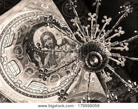 ST PETERSBURG, RUSSIA - JUNE 13, 2014: Ceiling of the Church of the Savior on Spilled Blood. It is an architectural landmark of city and a unique monument to Alexander II the Liberator.