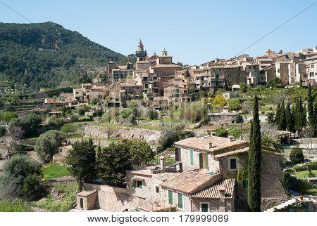 Overview on Valldemossa on Mallorca island