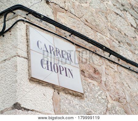 Carrer Chopin in Valldemossa on Mallorca island