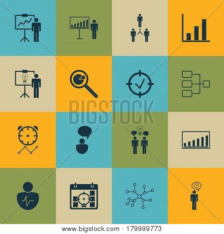 Set Of 16 Management Icons. Includes Bar Chart, System Structure, Special Demonstration And Other Symbols. Beautiful Design Elements.