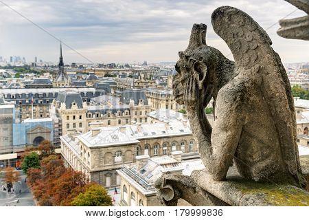 Chimera (gargoyle) of the Cathedral of Notre Dame de Paris overlooking Paris ,France