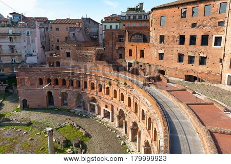View of Market of Trajan in Rome, Italy