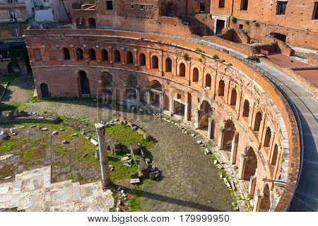 Aerial view of Market of Trajan in Rome, Italy