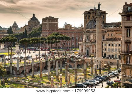 ROME, ITALY - MAY 8, 2014: View of the Forum of Trajan and the Piazza Venezia.