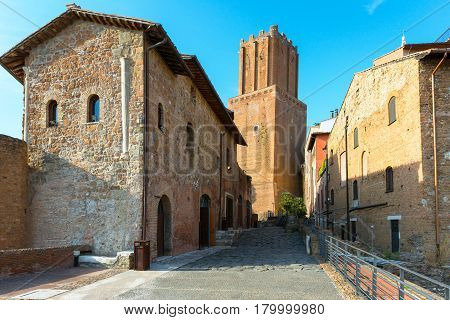Old houses at the Market of Trajan in Rome, Italy