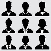 Woman and man head silhouettes, anonymous person vector icons. Anonymous person male and female, icon of person avatar illustration poster