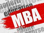 Business Education Concept: MBA - Master Of Business Administration Modern Style Illustration on Red Distressed Brush Stroke. MBA - Master Of Business Administration on Red Grunge Paint Stripe. poster