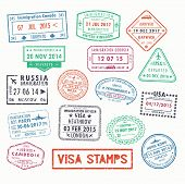 Set of isolated visa passport stamps of arriving to toronto canada or united kingdom, UK or Milan city in Italy, Russia or United states, USA or France. Tourism sign, arrival document, airport theme poster