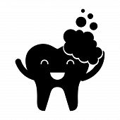 tooth with toothpaste character icon vector illustration design poster