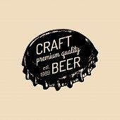 Kraft beer bottle cap logo. Old brewery icon. Lager retro sign. Hand sketched ale illustration. Vector vintage label or badge. poster