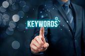 Find keywords - SEO and SEM concept. Marketing specialist offer keywording services. poster