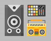 Acoustic musical speaker audio equipment musical technology and loudspeaker volume studio tool stereo entertainment vector illustration. Electronic woofer modern power listen noise voice instrument. poster