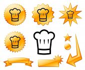 Chef Hat Icon on Orange Burst Banners and Medals Original Vector Illustration poster