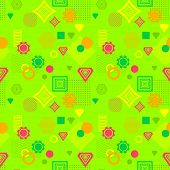 Abstract seamless pattern in postmodern Memphis Style green orange red yellow for wallpaper or package or for clothes or for creative design summer holiday poster