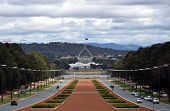 Anzac Parade running from The Australian War Memorial in direction of Parliament House Canberra. View of Anzac Parade and Parliament House in Canberra Australia poster