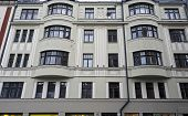 Riga Dzirnavu 63 elements of the facade Art Nouveau. Architect Constantine Pekshens poster
