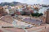 Roman amphitheater and ruins in Cartagena city, region of Murcia, Spain poster