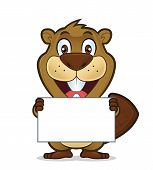Clipart picture of a beaver cartoon character holding a blank sign poster