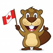 Clipart picture of a beaver cartoon character holding canadian flag poster