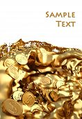 Gold coins in the flow of molten gold on white. poster