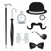 Set of vintage retro secular gentleman accessories. Hours hats details of wardrobe. Flat vector cartoon illustration. Objects isolated on a white background. poster
