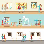 Museum Visitors Taking A Museum Tour With And Without A Guide Looking At Art And Science Exhibitions Set OF Illustrations. Cartoon Characters At The Gallery, Cultural And Scientific Education At The Exhibit. poster