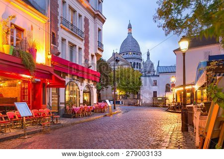 The Place Du Tertre With Tables Of Cafe And The Sacre-coeur In The Morning, Quarter Montmartre In Pa