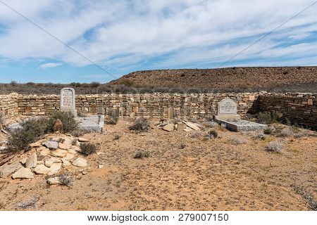 Williston, South Africa, August 31, 2018: An Historic Cemetery On The Direct Route Between Middelpos
