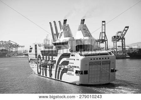 Barcelona, Spain - March 30, 2016: Passenger Ship Gnv Rhapsody Genova In Sea Port. Cruise Destinatio