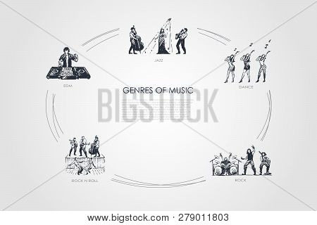 Genres Of Music - Jazz, Dance, Rock, Edm, Rock N Roll Music Vector Concept Set. Hand Drawn Sketch Is