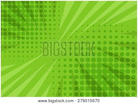 Abstract Bright Green Striped Retro Comic Background With Halftone Corners And Scratches. Cartoon Wa