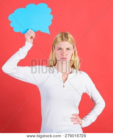 Make Decision. Hint And Allude Concept. Decision And Thoughts Copy Space. Girl With Speech Bubble. T