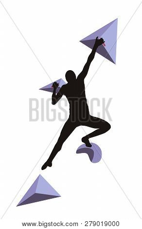 Woman Climbs On A Climbing Wall In A Climbing Gym Isolated On A White Background. Vector Illustratio