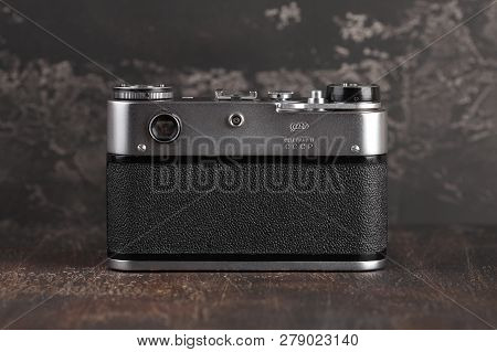Moscow, Russia, January 17, 2019. The Old Soviet Rangefinder Camera Fed-5c, Released 1987 On A Brown