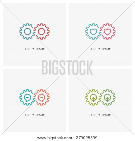 Gear Wheel Logo Set. Pinion Or Toothing, Heart, Chat, Tree And Infinity Symbol - Industry And Eterna