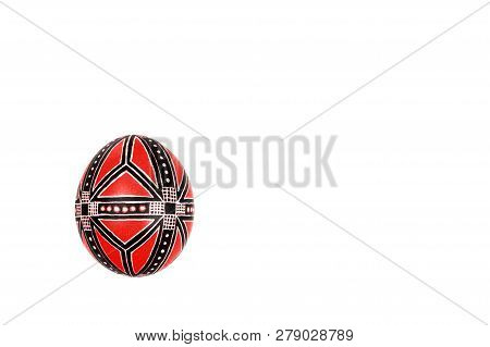 Perfect Ethnical Handmade Easter Egg Isolated On A White. Ethnical Style