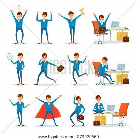 Businessman At Work, Directors In Office Working With Clients Vector. Enterpreneur Talking On Phone,