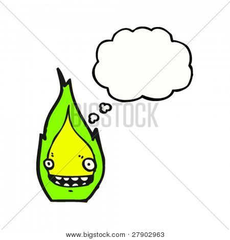 manic green flame character with thought bubble cartoon