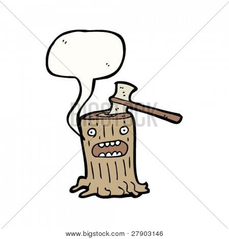 tree stump cartoon with axe in head