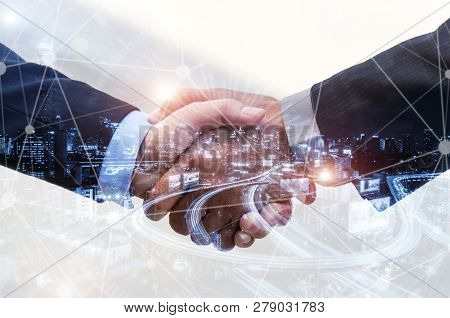 Business People Handshaking On Abstract City Background With Global Network Link Connection Effect D
