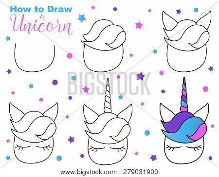 How Draw Cute Unicorn Vector Photo Free Trial Bigstock