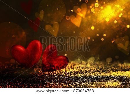 Valentines Day. Valentines Background With Table And Bokeh. Love Red Background. Valentines Day Empt