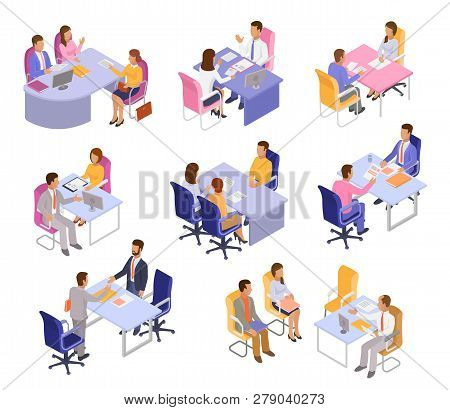 Interview Vector Interviewee Or Interviewer People On Business Meeting And In Office Illustration Se