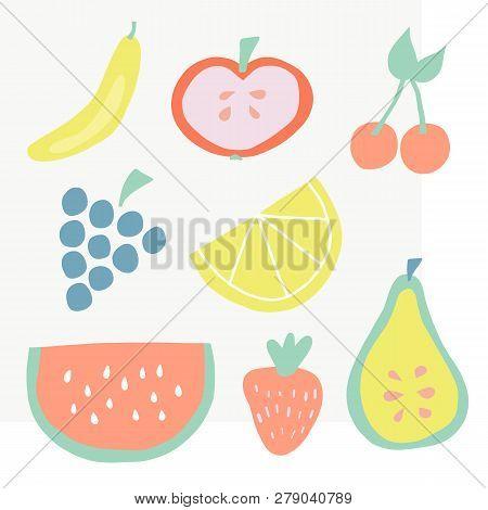 Set Of Summer Fruit Icons Vector Illustration. Citrus, Tropical Fruit Slices. Simple Flat Scandinavi