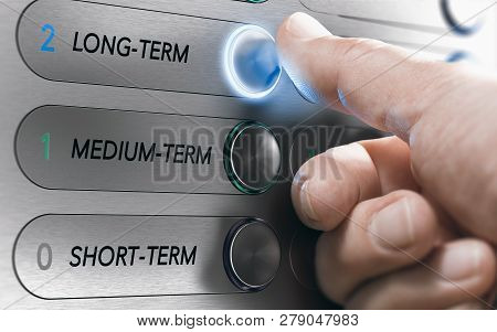 Man Pushing An Elevator Buttons Where It Is Written Long Term. Investment Concept. Composite Image B