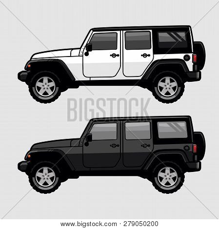 White And Black 4x4 Off Road Vehicle Suv Side View Illustration In Cartoon Style. Expedition Off Roa